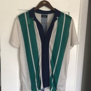 Zara Men's Striped Button Up Polo Size M